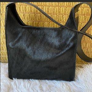 Furla black calf hair shoulder bag leather trim